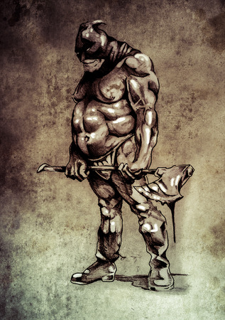 Sketch of tattoo art, warrior with axe photo