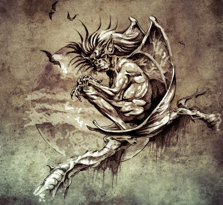 Sketch of tattoo art, gargoyle monster sitting in a tree on vintage paper, handmade illustration illustration