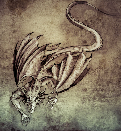 Sketch of tattoo art, modern dragon on vintage paper, handmade illustration