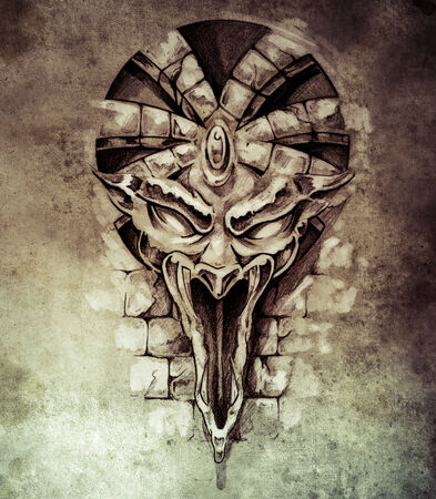 Sketch of tattoo art, rock gargoyle mask photo