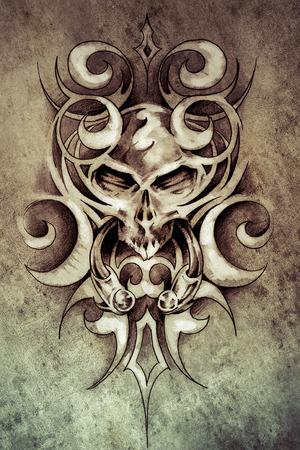 Sketch of tattoo art, monster design with tribal illustrations  on vintage paper, handmade illustration illustration