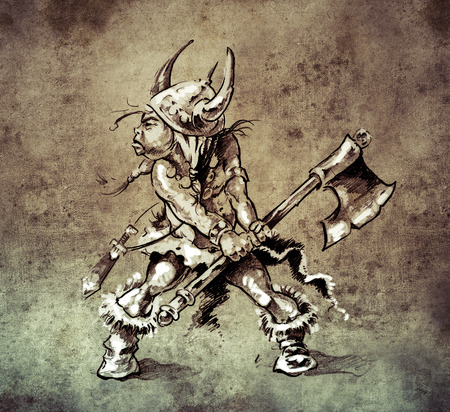 dark elf: Sketch of tattoo art, funny little warrior with big axe  on vintage paper, handmade illustration Stock Photo