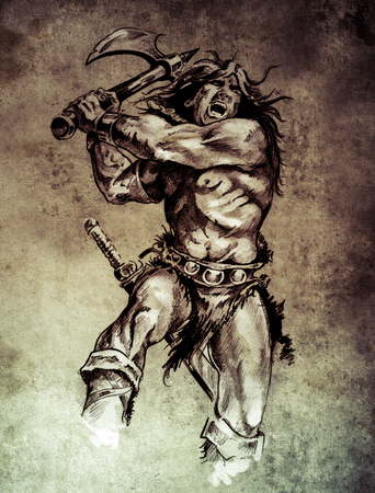 Sketch of tattoo art, warrior fighting with big axe  on vintage paper, handmade illustration