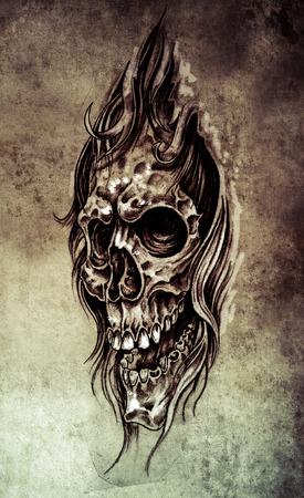 Sketch of tattoo art, skull head illustration, vintage style  on vintage paper, handmade illustration illustration