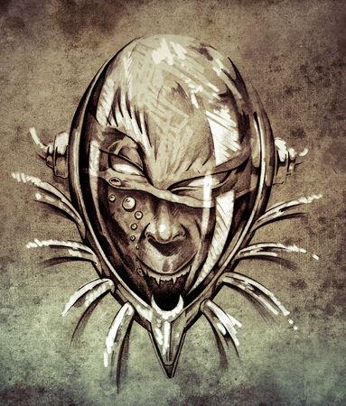 Sketch of tattoo art, skull under water  on vintage paper, handmade illustration illustration