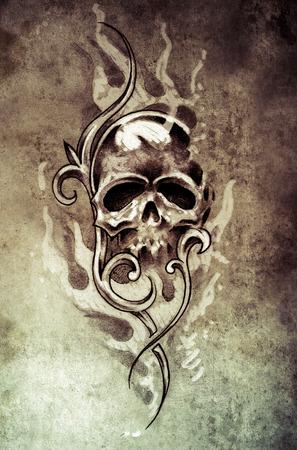 Sketch of tattoo art, skull devil, decorative  on vintage paper, handmade illustration illustration