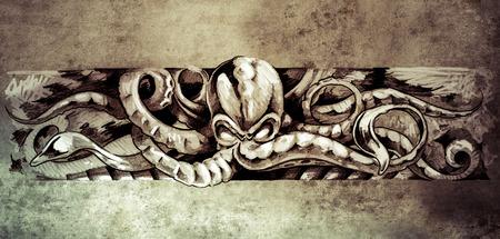 gargouille: Croquis de l'art tatto, poulpe illustration sur le papier vintage, illustration main Banque d'images