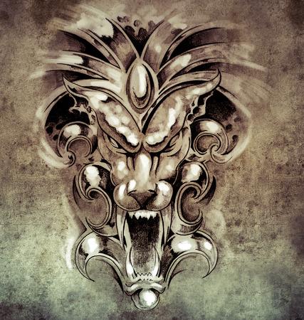 Sketch of tattoo art, gargoyle devil mask on vintage paper, handmade illustration illustration