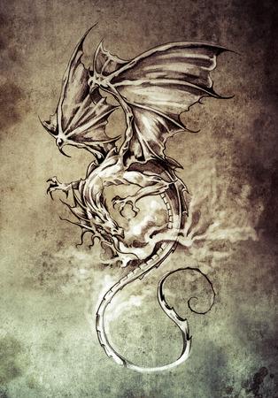 Sketch of tattoo art, classic dragon illustration Stock Photo