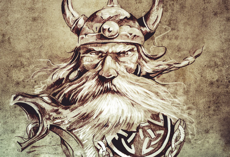 native american man: Tattoo art, sketch of a viking warrior, Illustration of an ancient wooden figurehead on a Viking longboat Stock Photo