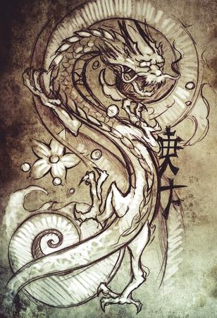 Tattoo art, sketch of a japanese dragon photo