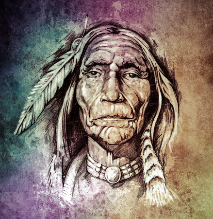 native american man: Sketch of tattoo art, portrait of american indian head over colorful paper Stock Photo