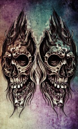 Sketch of tattoo art, skull head illustration, over colorful  on vintage paper, handmade illustration illustration