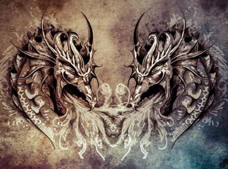 Tattoo art, fantasy medieval dragons heart photo