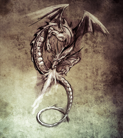 Sketch of tattoo art, Fantasy dragon. Sketch of tattoo art, medieval monster Stock Photo