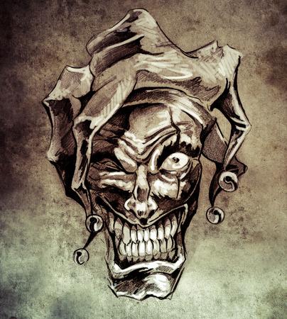 Fantasy clown joker. Sketch of tattoo art on vintage paper, handmade illustration