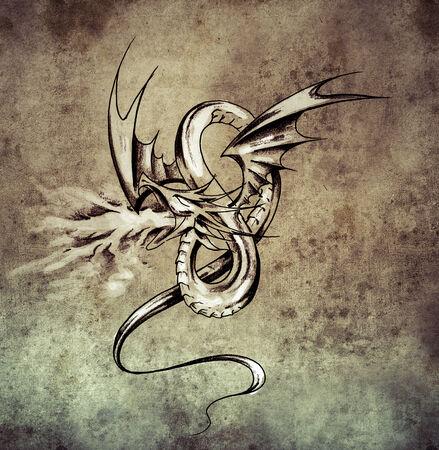 Medieval dragon figure. Sketch of tattoo art on vintage paper, handmade illustration illustration