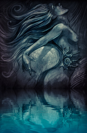 Nude mermaid illustration in blue colors with shine effects over water reflection on vintage paper, handmade illustration illustration