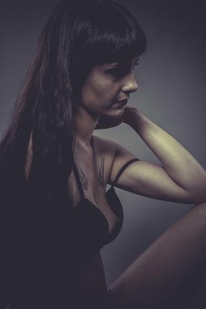 Sensual brunette woman in lingerie photo