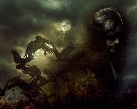 man face: Paranormale, man met lang haar en een zwarte jas
