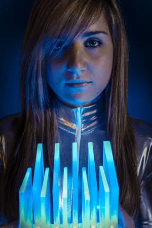hit tech: Keyboard.Fiber Optic concept, woman with modern lights
