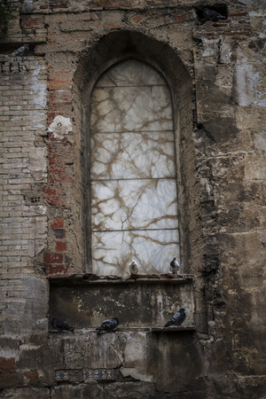 abandoned warehouse: old gothic window, Spanish city of Valencia, Mediterranean architecture