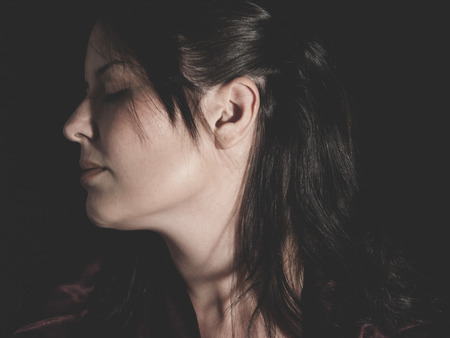 vulnerable: vulnerable woman concept of psychological abuse, beautiful young brunette