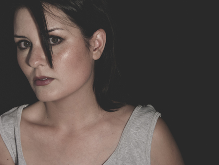 domestic violence: victim, vulnerable woman concept of psychological abuse, beautiful young brunette