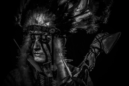 native american indian chief: tribal Native, American Indian chief with big feather headdress