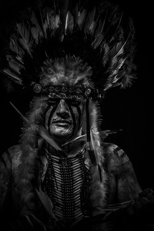 aboriginal woman: traditional Native, American Indian chief with big feather headdress
