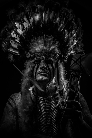 native american indian chief: Native, American Indian chief with big feather headdress