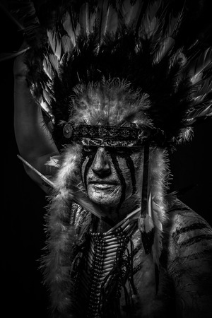 native american indian chief: Conflict Native, American Indian chief with big feather headdress