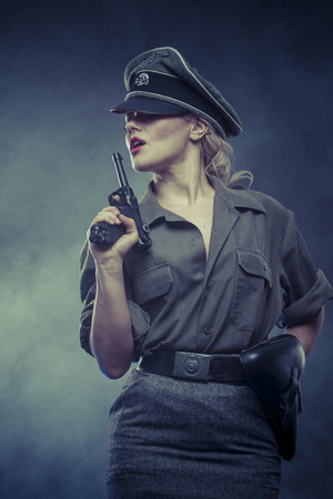 oppression: warrior, Official German woman, representation of tyranny and oppression Stock Photo
