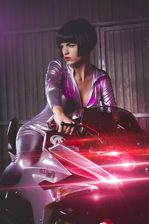 woman motorcycle modern design and aggressive photo