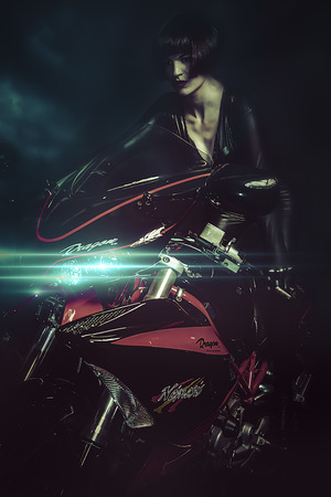 Sunset street, Sensual brunette woman in modern motorcycle design and aggressive photo