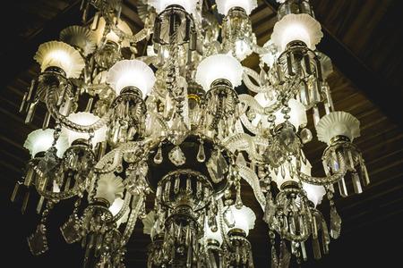 Victorian antique crystal lamp, vintage