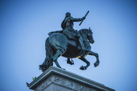king street: sculpture of King horseback, oldest street in the capital of Spain, the city of Madrid, its architecture and art