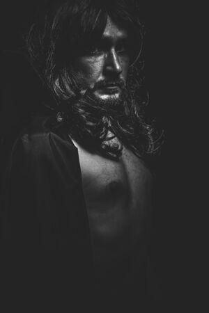 fallen angel: Vampire, Male model, evil, blind, fallen angel of death Stock Photo