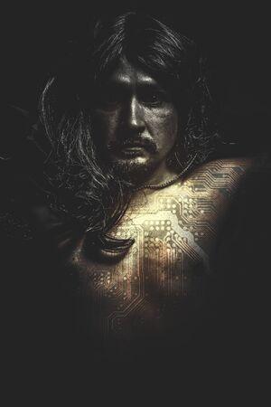 fallen angel: communications concept, Male model, evil, blind, fallen angel of death