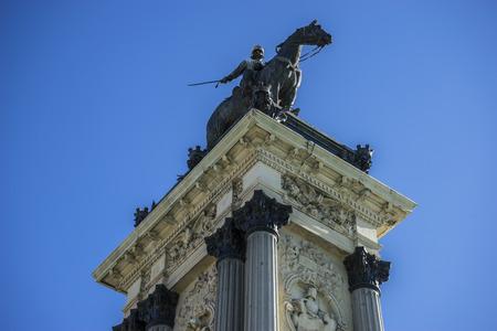 parque del buen retiro: Monument to King Alfonso XII, Lake in Retiro park, Madrid Spain Editorial