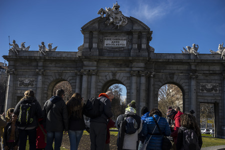 Tourism, mythical alcala door in the capital of Spain, Madrid