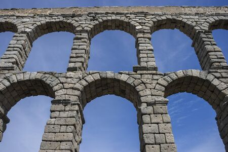 declared: Roman aqueduct of segovia. architectural monument declared patrimony of humanity and international