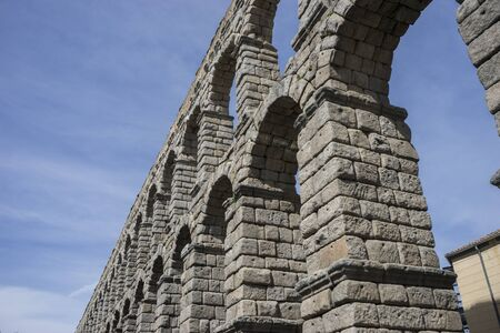 patrimony: Roman aqueduct of segovia. architectural monument declared patrimony of humanity and international