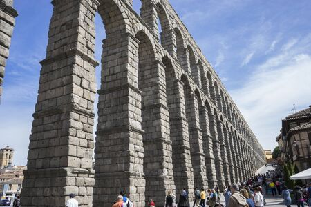 acueducto: Roman aqueduct of segovia. architectural monument declared patrimony of humanity and international interest by UNESCO