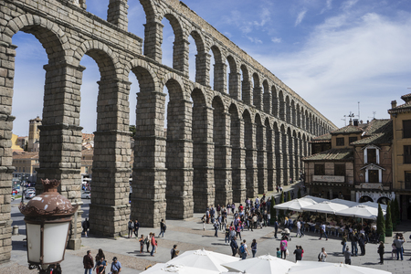patrimony: Ruin, Roman aqueduct of segovia. architectural monument declared patrimony of humanity and international interest by UNESCO. Spain Stock Photo