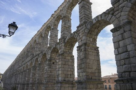 declared: Medieval, Roman aqueduct of segovia. architectural monument declared patrimony of humanity and international interest by UNESCO. Spain