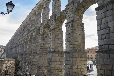patrimony: Tourist, Roman aqueduct of segovia. architectural monument declared patrimony of humanity and international interest by UNESCO. Spain