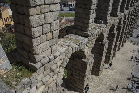 declared: Roman aqueduct of segovia. architectural monument declared patrimony of humanity and international interest by UNESCO