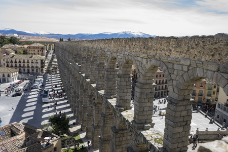 patrimony: Roman aqueduct of segovia. architectural monument declared patrimony of humanity and international interest by UNESCO