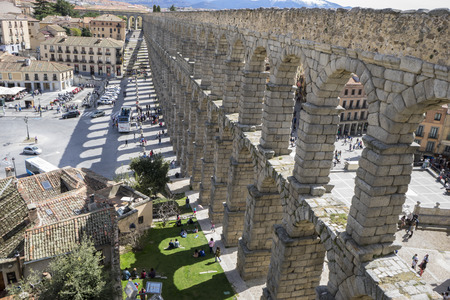 patrimony: Tourism, Roman aqueduct of segovia. architectural monument declared patrimony of humanity and international interest by UNESCO. Spain Stock Photo